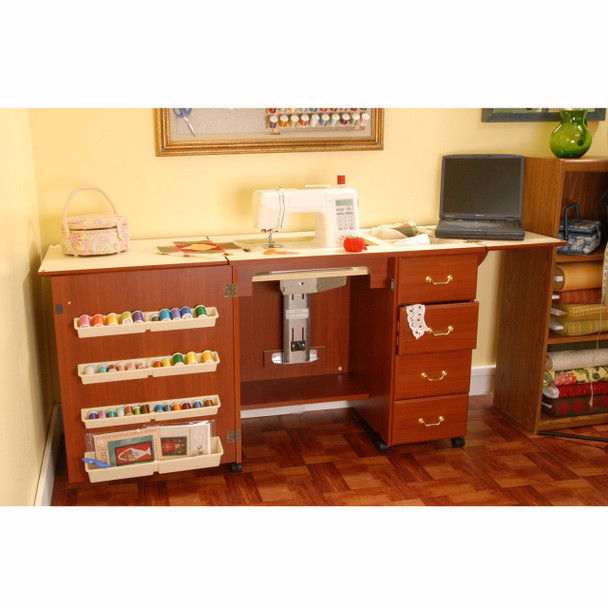 Arrow Norma Jean Model 352 Sewing Cabinet In Cherry Color