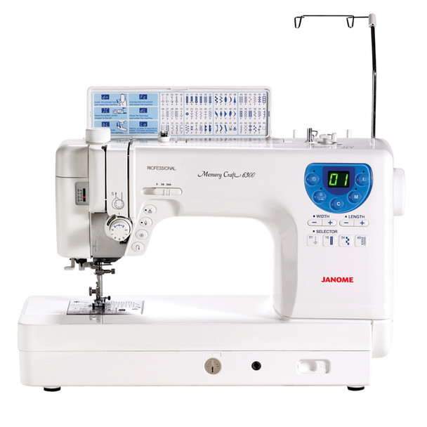 Janome Memory Craft 6300P Refurbished Sewing Machine - Front view