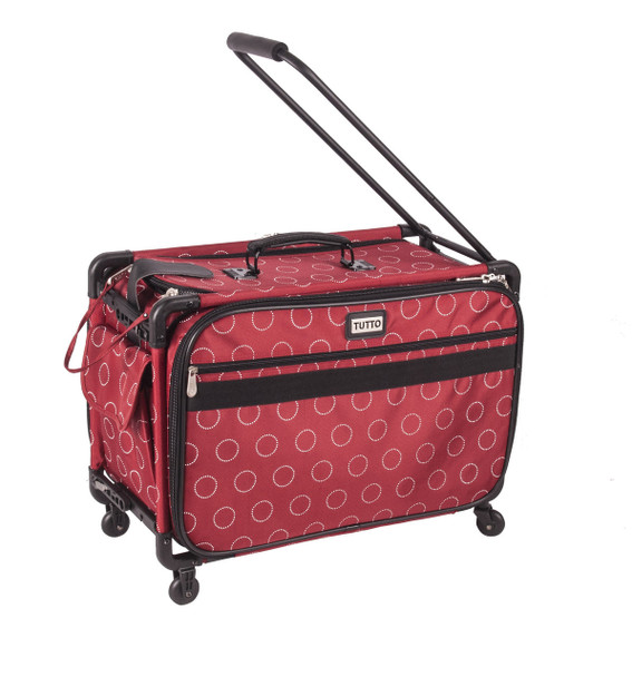"Tutto 40"" Large Sewing Machine Bag On Wheels Red Dotted Circles Mesmerizing Sewing Machine Bags On Wheels"