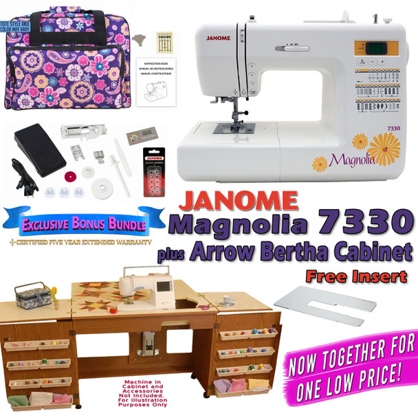 Janome Sewing Machine Arrow Sewing Cabinet Combo 40 404040 FREE Awesome Janome Magnolia 7330 Sewing Machine