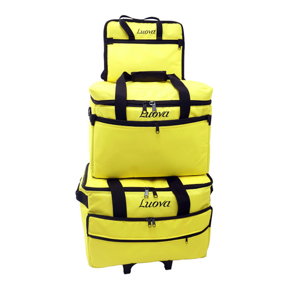 "Luova 19"" 3 Piece Rolling Trolley Set in Meadowlark Yellow"