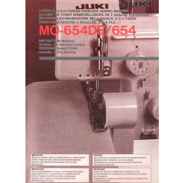 Juki MO-654DE Serger Included Instruction Manual