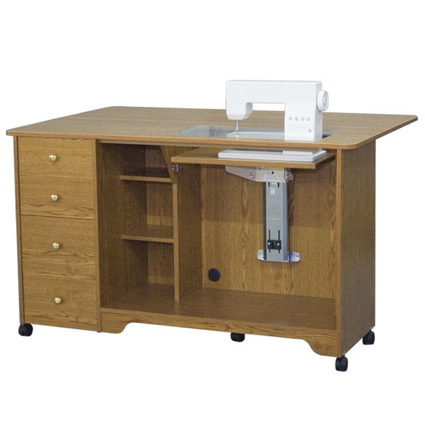 Horn of America 5680 Electric Lift Sewing Cabinet Cutting Table in Sunset Oak Only ...  sc 1 st  Sew Vac Direct & Horn of America 5680 Electric Lift Sewing Cabinet Cutting Table in ...