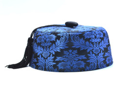 Blue Brocade Smoking Cap in several sizes.  Matching jacket and bow tie available
