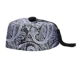 Grey/Black Paisley Smoking Cap