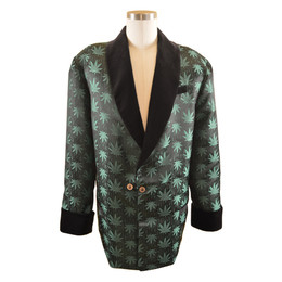 Women's Marijuana Print Smoking Jacket