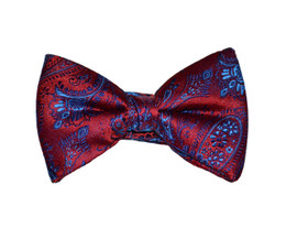 Red and Blue Paisley Bow Tie