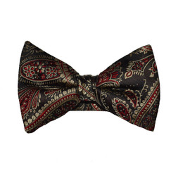 Paisley Bow Tie - Red and Gold