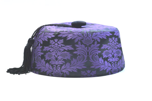 Purple brocade smoking cap available in several sizes.  Matching jacket and bow tie available.