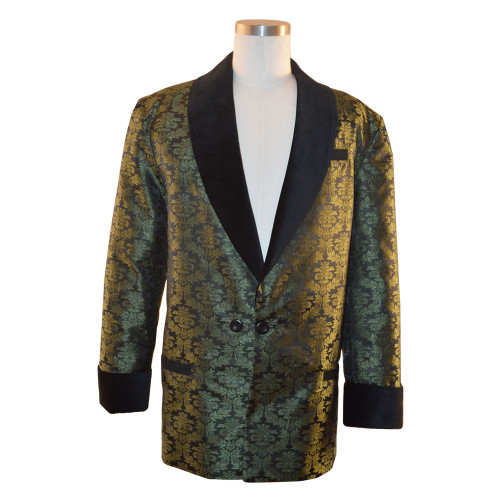 "Men's Olive Green Smoking Jacket with bemberg lining.  Black velvet cuff and collar.  Adjustable 3"" cuff to lengthen or shorten"
