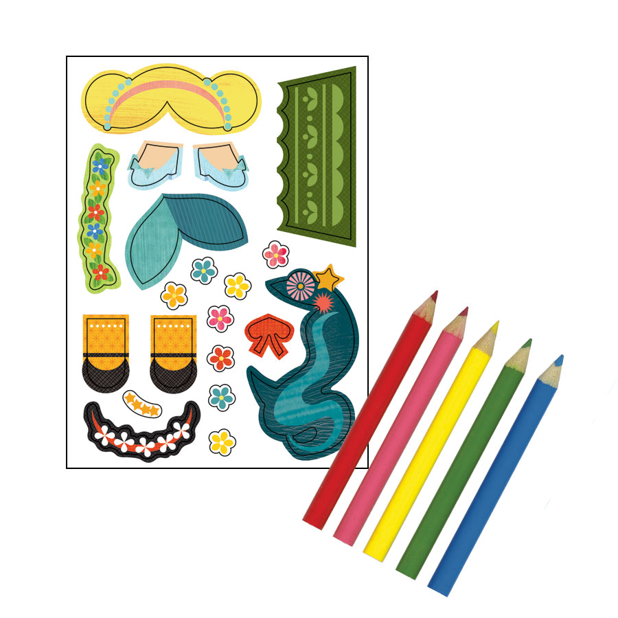 Petit Collage Fairy Tales Paper Doll Chain Stickers and Markers