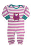 Baby Girl's Organic Cotton Stripy Owl Sleepsuit
