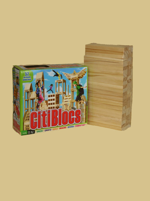 52 Piece Wooden Building Set - Sustainable