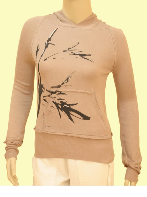 Butterfly Bamboo Puff Sleeve Hooded Shirt