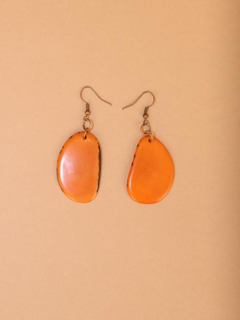 Dangle Orange Tagua Earrings