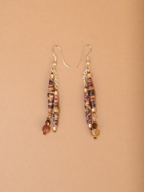 Dark Brown & Black Double Strand Earrings