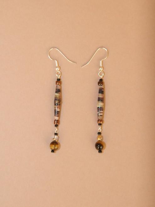 Dark Brown/Black Single Strand Earrings