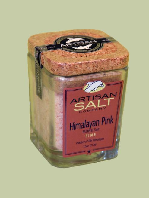 Himalayan Pink Salt Fine Grain  - 7.5 oz cork glass jar