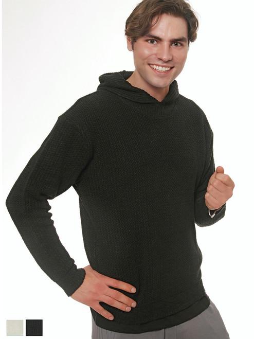 Men's Knit Hooded Sweater - Hemp/Flax