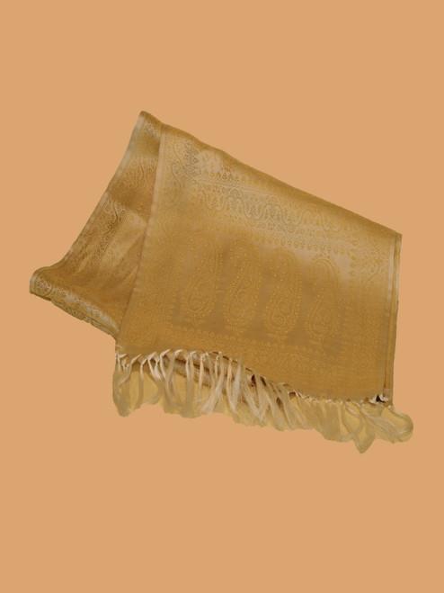 Light Cream Silk Brocade Scarf