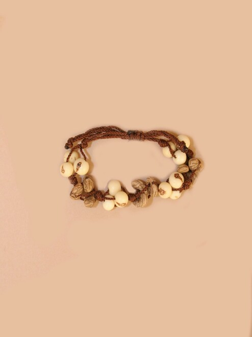 Natural & Taupe Tagua Bracelet