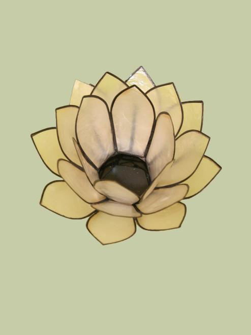 Natural with Black Large Lotus Tea Light Holder