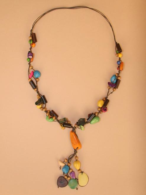 Multicolor Tagua  Seeds and Orange Peel Necklace