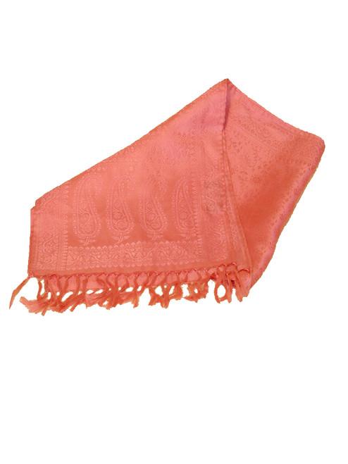 Pink & Cream Silk Stole Shawl