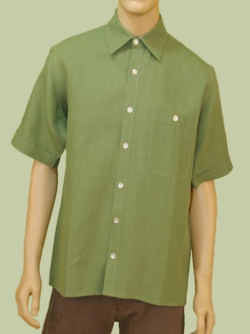 Men's Short Sleeve Button Down Shirt - Hemp / Flax