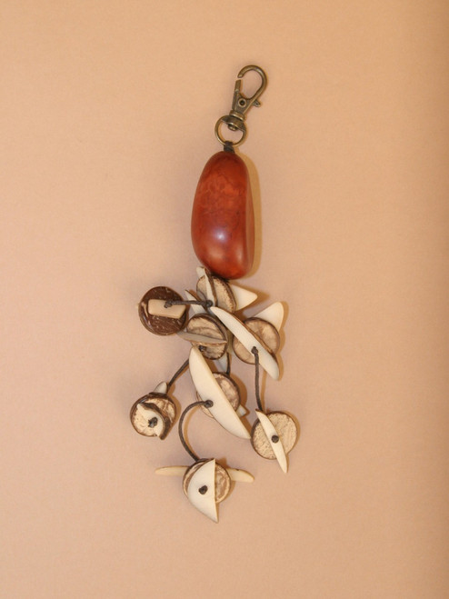 Large Tagua Seed with Natural Slices Keychain