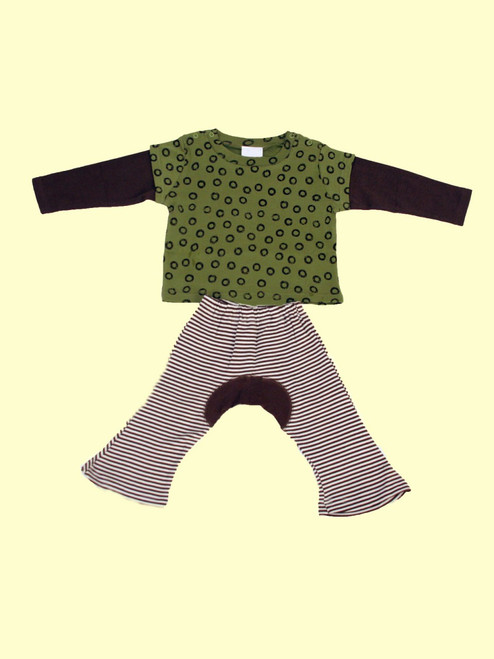 Organic Cotton Wa Tee Green Tea & Brown Monkey Pants - Fair Trade