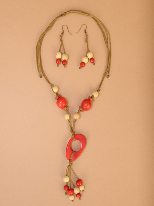 Red Tagua Necklace and Earring Set