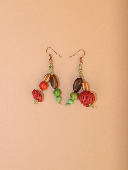 Dangle Peach Pit Earrings
