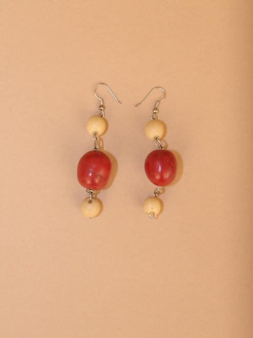 Dangle Red Tagua Seed Earrings