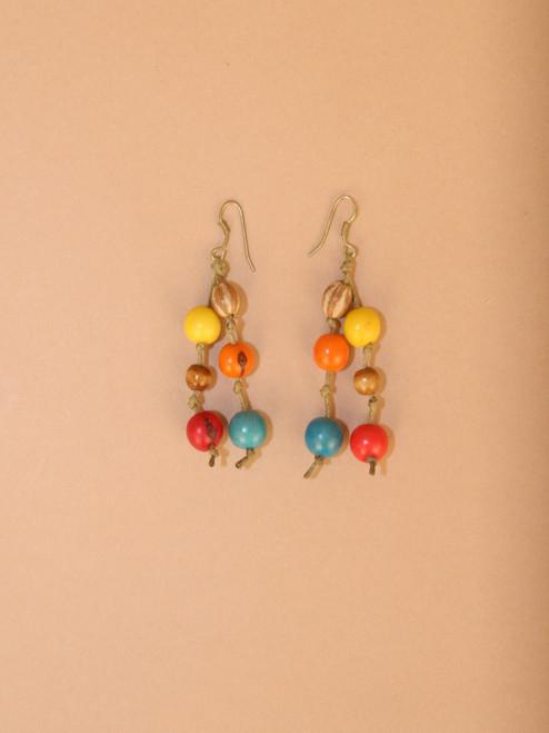 Multicolor Tagua Seeds Dangle Earrings