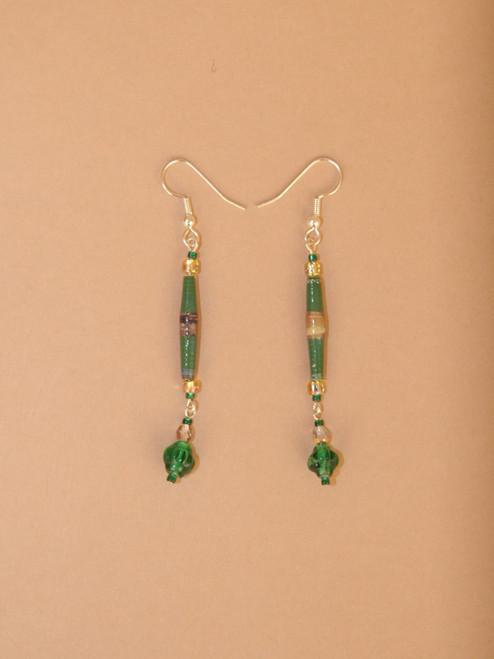 Green Single Strand Earrings
