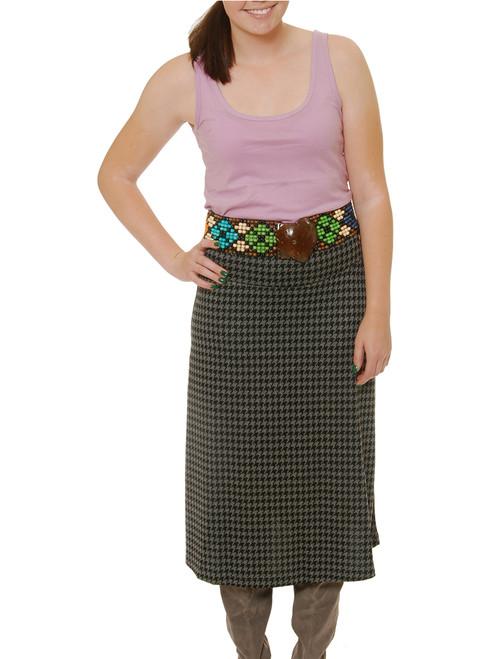 Houndstooth Sleek Skirt  - Bamboo Viscose Knit