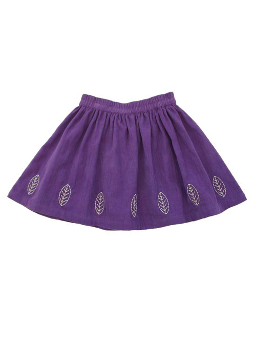 Leaf Embroidered Skirt - Organic Cotton