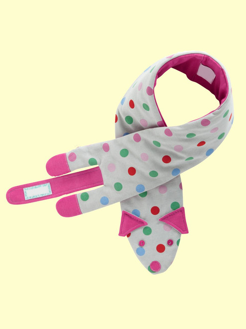 Polka Sausage Dog Scarf . Organic Cotton - Fair Trade