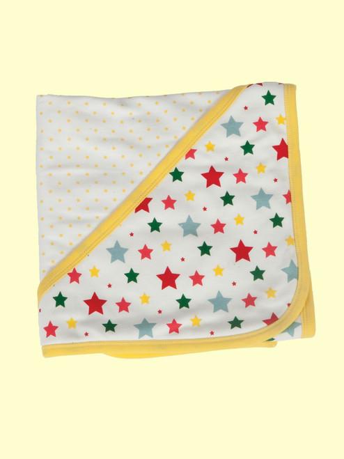 Multi-Star Reversible Hooded Blanket . Organic Cotton - Fair Trade