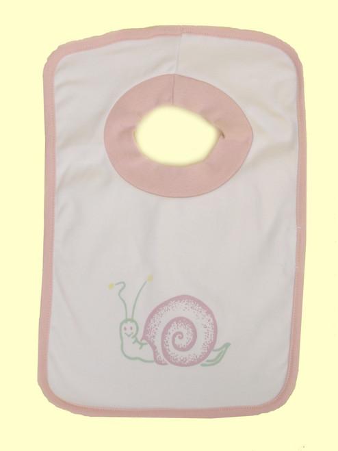 Pink Snail Bib - Organic Cotton