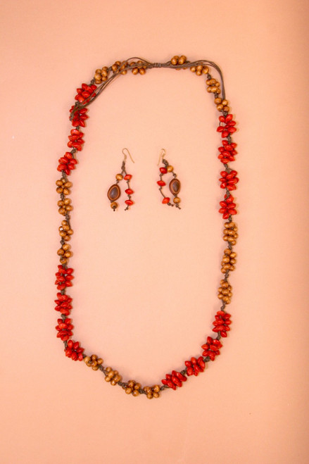 Tagua Red and Brown Necklace and Earring Set