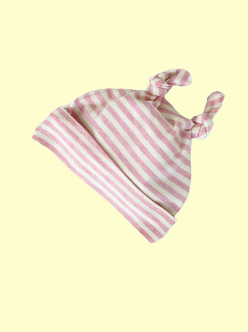 Organic Cotton Striped Pink Baby Cap