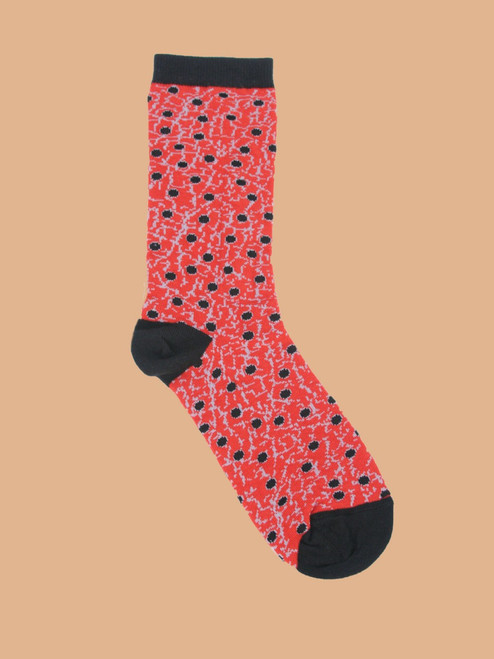 Little Black Crackle Dots - Paired Crew Socks - Recycled Fibers