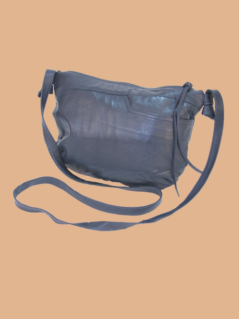 Navy Recycled Leather Small Handbag