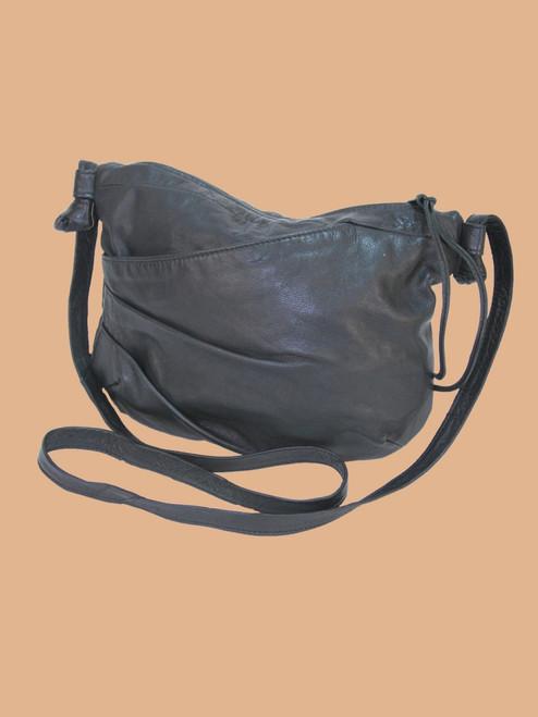 Black Recycled Leather Small Handbag