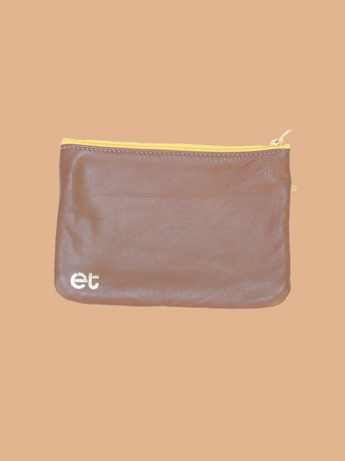 Brown/Light Blue Change Purse - Recycled Leather