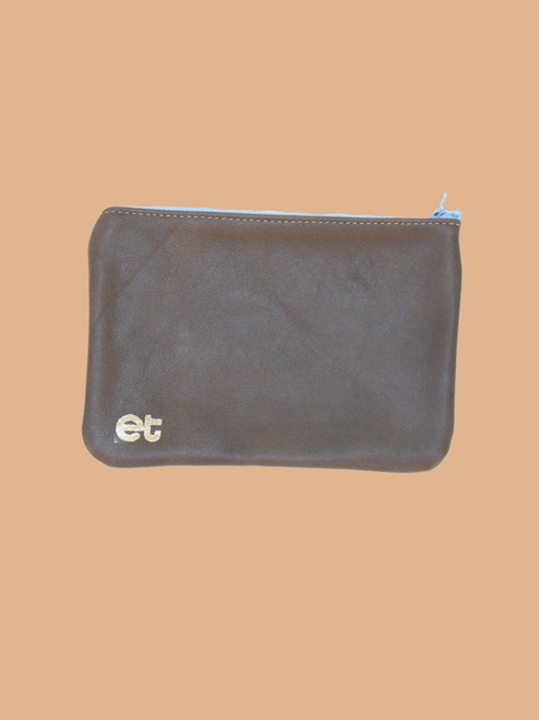 Dark Brown/Silvery Blue Change Purse - Recycled Leather