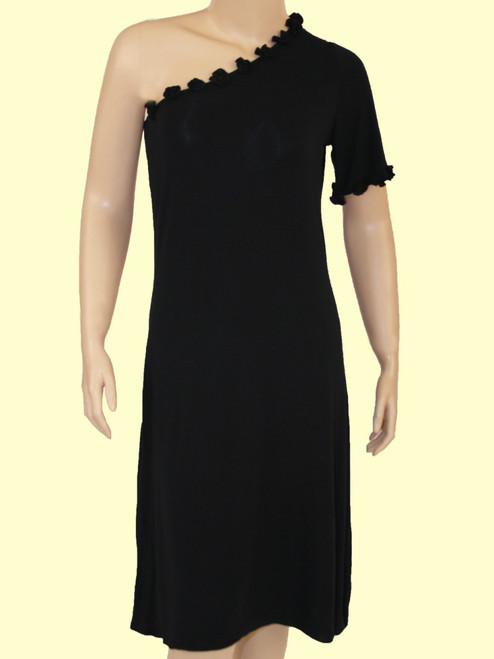 One Shoulder Knee Length Dress - Bamboo Rayon