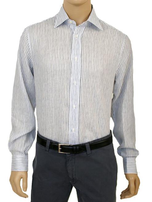 Men's Nautical Linen Stripe Print Long Sleeve Bert Shirt